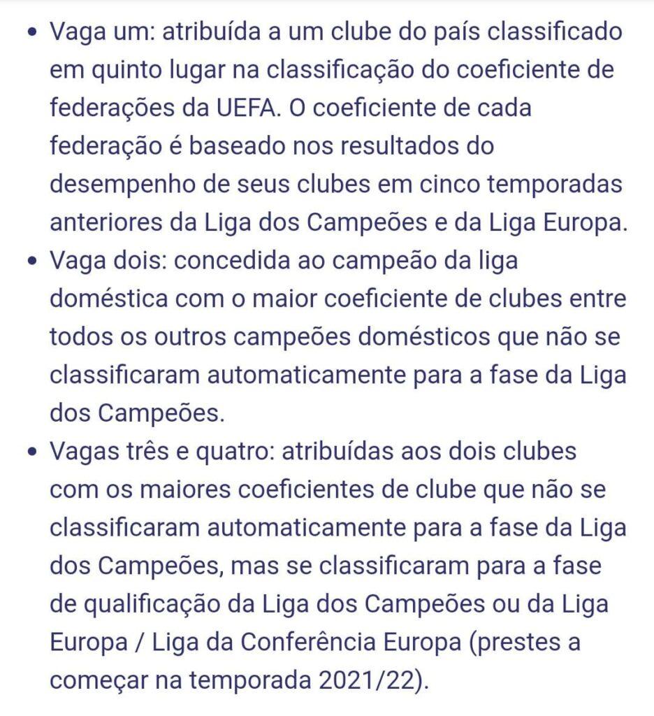Critérios da UEFA para as novas vagas da Champions